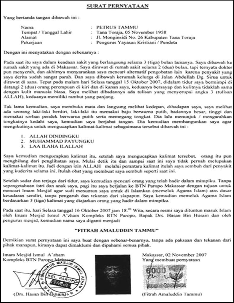 Surat Pernyataan seorang Pendeta (Mualaf) | Ibhe Ananda